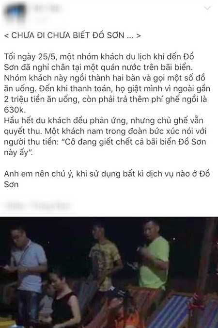 Bài viết thu phí ghế ngồi ở Đồ Sơn khiến dân mạng xôn xao.