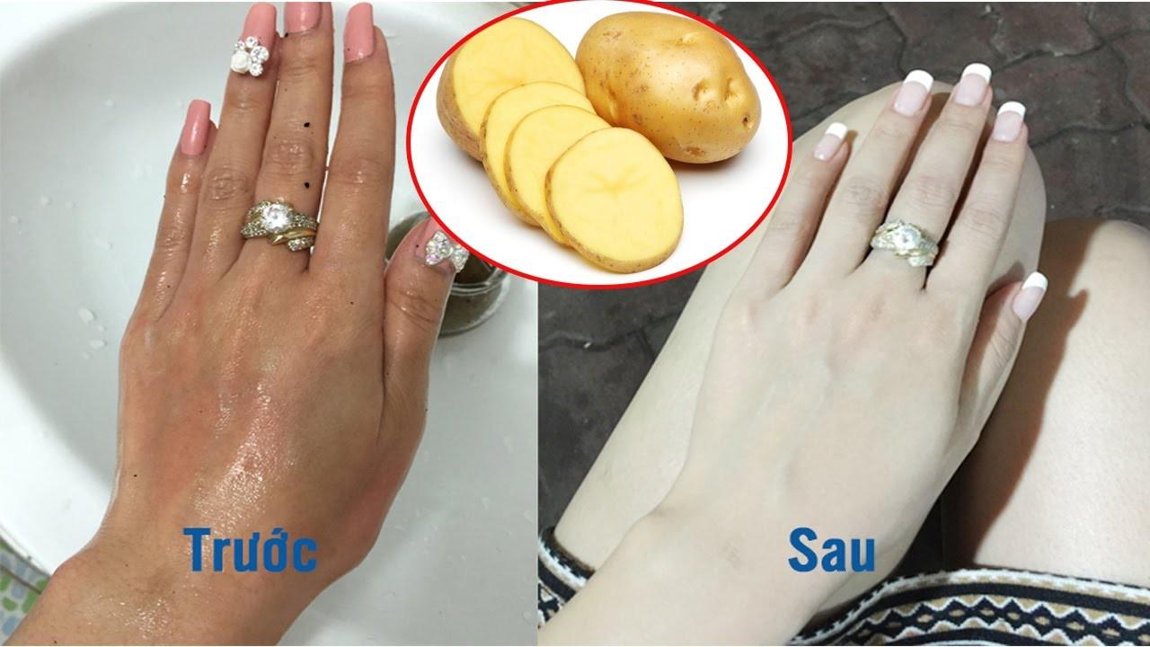 Kết quả hình ảnh cho tắm trắng bằng khoai tây
