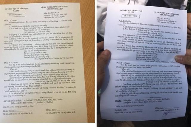 Đề thi Ngữ văn lan truyền trên mạng (trái ảnh) và đề thi chính thức giống hệt nhau. Ảnh: PV