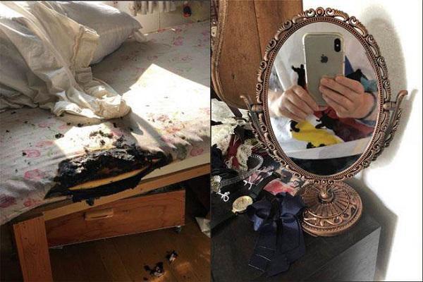 Bức ảnh hiện trường chiếc giường ngủ cháy đen 1 góc và chiếc gương - thủ phạm gây ra sự việc kinh hoàng do Tarako chụp lại.
