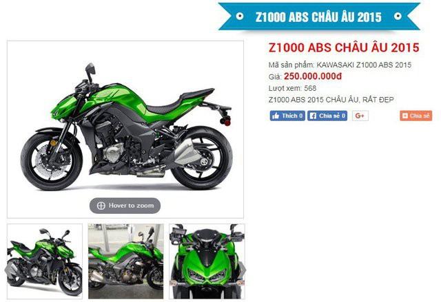 Chiếc xe phân khối lớn Kawasaki Z1000 được cửa hàng cầm đồ thanh lý 250 triệu đồng trên website của cửa hàng