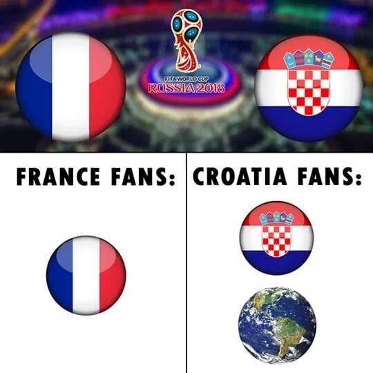 Đội tuyển Croatia bị đánh giá thấp hơn đối thủ Pháp trước khi trận chung kết diễn ra. Nhưng lối đá cống hiến cùng tinh thần không gục ngã khi bị dẫn bàn của Luka Modric và đồng đội khiến hàng triệu người yêu bóng đá trên toàn thế giới thán phục. Ảnh: Football Troll Nation.