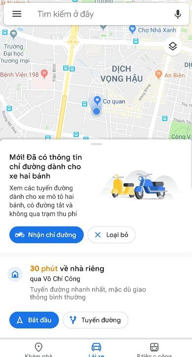 Chế độ dẫn đường cho xe hai bánh vừa được Google bổ sung cho ứng dụng bản đồ ở Việt Nam.