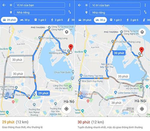 Chế độ xe máy cho ra thêm kết quả dẫn đường so với ô tô nhờ có thể đi vào đường tắt, đường nhỏ, tránh tuyến đường cấm, đường vòng hoặc các trạm thu phí...