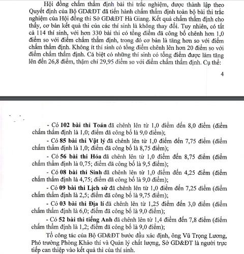 Báo cáo của Ban Cán sự Đảng UBND tỉnh Hà Giang về các trường hợp sai lệch điểm.