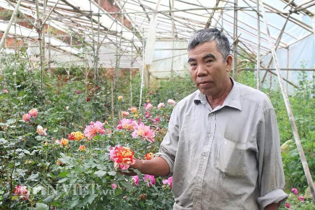 Ông Đắt bên những bông hoa đang nở rộ trong vườn của mình. Ảnh: Văn Long.