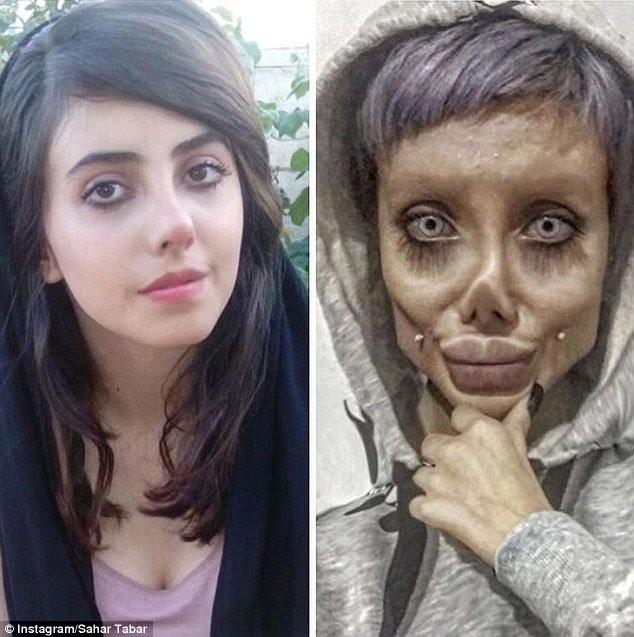 Sahar có gương mặt xinh xắn (trái) khác hẳn với tạo hình xác sống của cô. (Ảnh: Instagram)