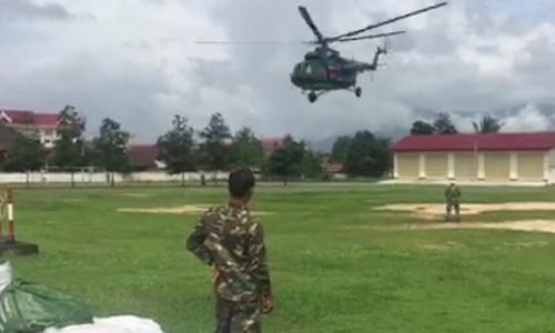 Lực lượng Quân khu 5 phối hợp lực lượng cứu hộ Lào. Video: Nguyễn Đông.