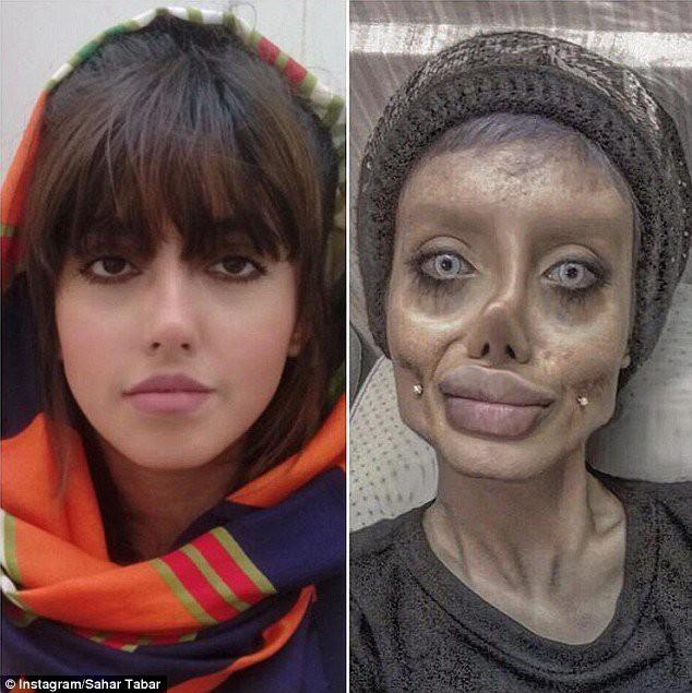 Sahar khá giống Angelina Jolie (trái) khi không tạo hình kinh dị.