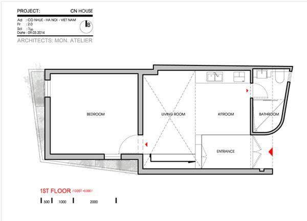 Không gian sử dụng thực tế ở tầng 1.