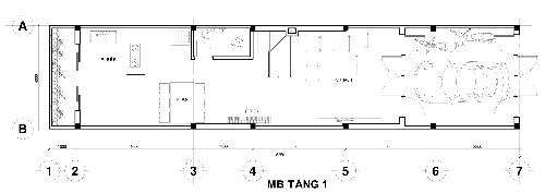 Mặt bằng tầng 1 gồm gara để xe, phòng khách - có chỗ đặt đàn piano, phòng ăn, bếp, giếng trời và một nhà vệ sinh.