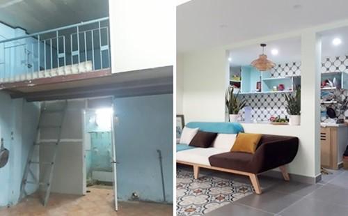 Không gian phòng trọ cũ chật hẹp đập đi cải tạo thành phòng khách thông thoáng.