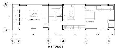 Tầng 3 gồm phòng ngủ bố mẹ có nhà vệ sinh bên trong, cầu thang, phòng sinh hoạt chung cạnh giếng trời.