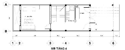 Tầng 4 gồm sân vườn phía ngoài, tiếp đó là phòng thờ nhìn ra sân vườn, rồi đến phòng giặt ủi, cầu thang, phòng làm việc cạnh giếng trời.