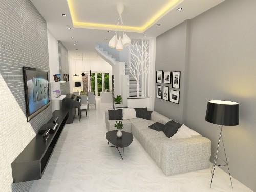 Phòng khách tầng 1 đơn giản với tông màu trắng xám làm chủ đạo. Đằng sau cầu thang là phòng bếp và phòng ăn.