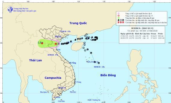 Bão số 4 suy yếu thành áp thấp nhiệt đới. Ảnh: NCHMF