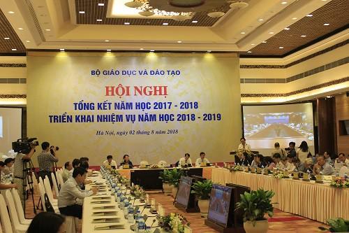 Hội nghị tổng kết năm học 2017 - 2018, triển khai nhiệm vụ năm học 2018 - 2019. Ảnh: Q.Anh