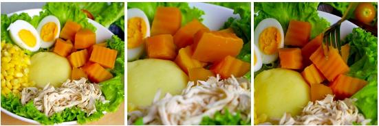 Đĩa salad hội tụ đủ các loại rau củ quả tươi sống, tinh bột và chất đạm, có thể dùng làm món ăn chính mà không sợ thiếu chất. Thành phần còn có bí đỏ, một loại quả có chứa nhiều chất axit glutamine, rất cần thiết cho hoạt động não bộ.