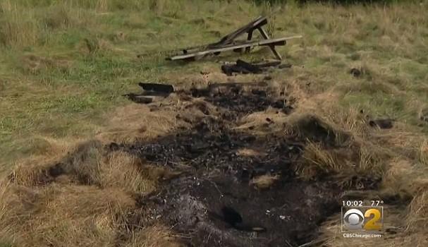 Khu vực phát hiện thi thể bị thiêu cháy của nạn nhân