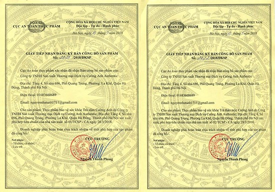 Giấy tiếp nhận đăng ký bản công bố 2 sản phẩm của Cường Anh.