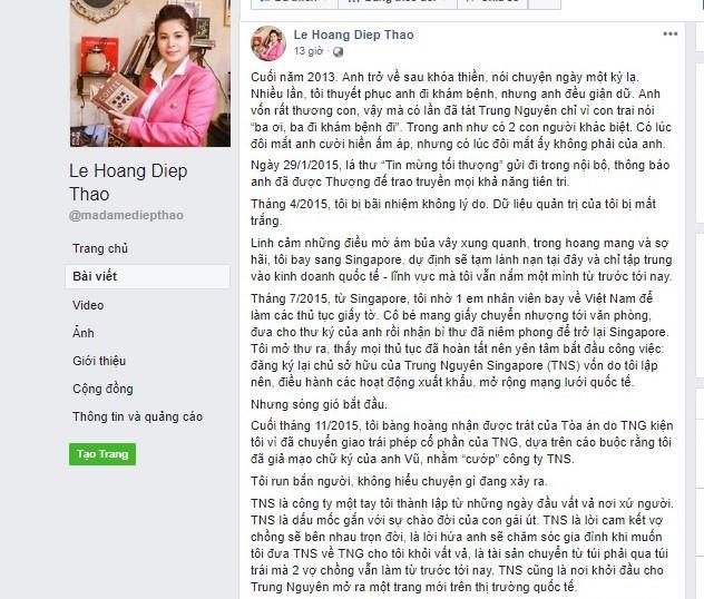 Dòng chia sẻ trên trang Facebook được cho của bà Lê Hoàng Diệp Thảo. Ảnh chụp màn hình