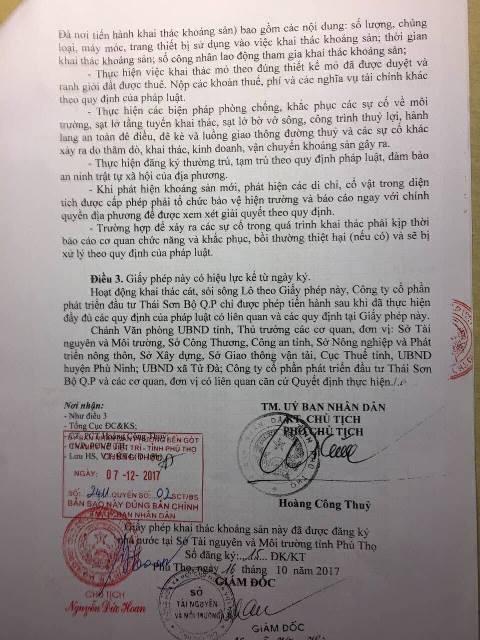 Văn bản của UBND tỉnh Phú Thọ cho phép Công ty Thái Sơn tiếp tục khai thác mỏ cát lòng sông Lô thuộc xã tử Đà, huyện Phù Ninh.