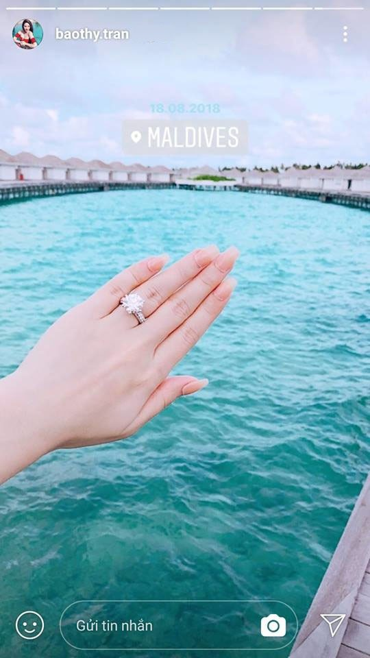 Hình ảnh chiếc nhẫn kim cương được Bảo Thy chia sẻ cách đây không lâu.