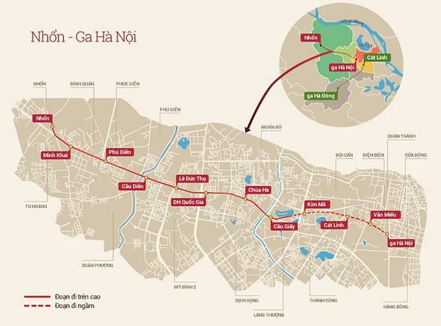 Sơ đồ tuyến đường sắt đô thị TP Hà Nội, đoạn Nam Thăng Long - Trần Hưng Đạo. Ảnh: Phương Thảo