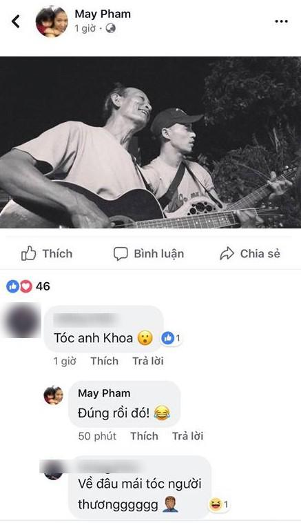 Hình ảnh mới nhất được bà xã đăng tải cho thấy Phạm Anh Khoa đã cắt đi mái tóc dài của mình.