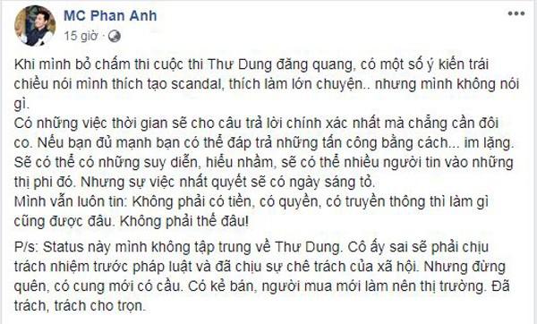 MC Phan Anh nói về cuộc thi Thư Dung đăng quang.