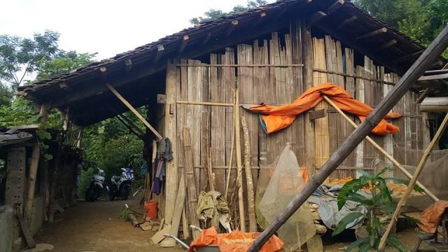 Căn nhà tồi tàn nơi bà Triệu Thị Hạnh đang sinh sống.