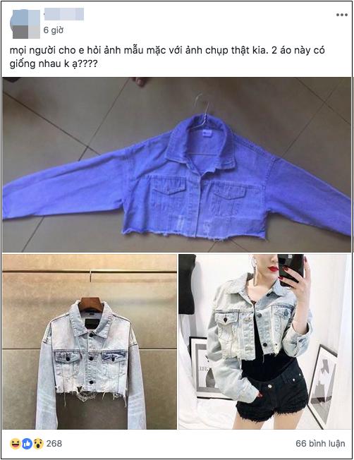 Chiếc áo jean sành điệu đã được người bán hàng hô biến thành một chiếc áo mỏng tang như tờ giấy. (Ảnh chụp màn hình)