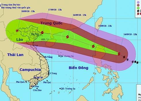 Hình ảnh đường đi của siêu bão Mangkhut (ảnh do Trung tâm Dự báo khí tượng thuỷ văn Trung ương cung cấp).