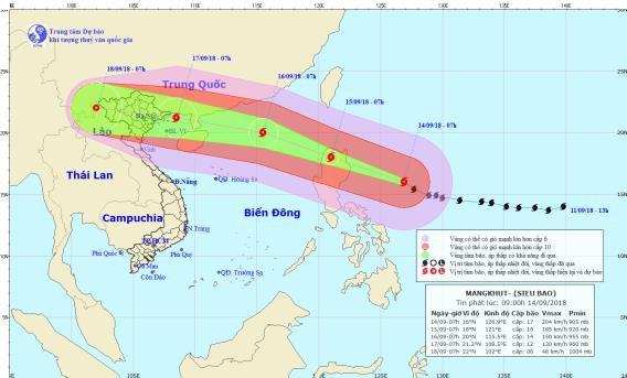 Vị trí và đường đi của siêu bão. Hình: NCHMF