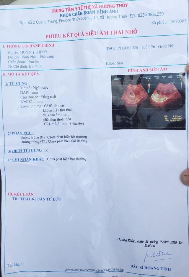 Kết quả siêu âm thai của chị Huỳnh Thị N. tại TTYT thị xã Hương Thủy (tỉnh Thừa Thiên – Huế).