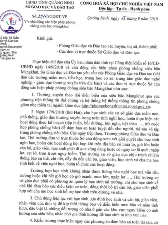 Công văn của Sở Giáo dục và Đào tạo tỉnh Quảng Ninh ban hành ngày 15/9 về chủ động phòng chống siêu bão Mangkhut. Ảnh: Đ.Tùy