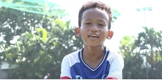 Cầu thủ nhí Nguyễn Phương Nam.