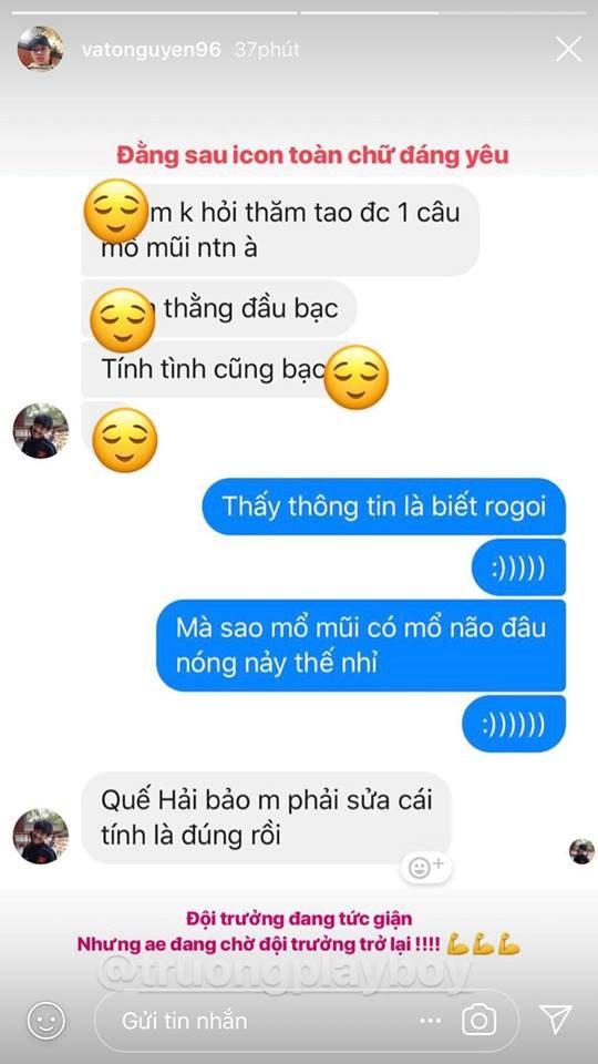 Đoạn nói chuyện giữa 2 chàng cầu thủ được Văn Toàn đăng tải trên story Instagram nhanh chóng thu hút cư dân mạng. Ảnh chụp màn hình.