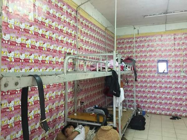 Căn phòng độc đáo với 1 màu hồng.