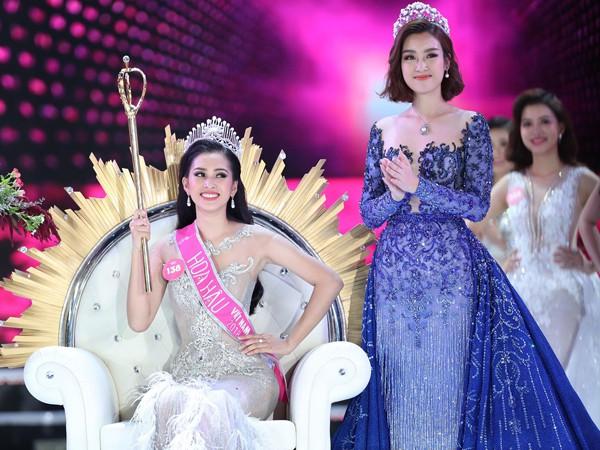 Tân hoa hậu Tiểu Vy và hoa hậu Mỹ Linh - 1 trong những hoa hậu đã từng bị ném đá về nhan sắc sau khi đăng quang. Ảnh internet