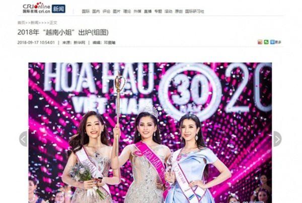 Các trang tin lớn của Trung Quốc như Tân Hoa Xã, QQ, ECri... đều đăng tải tin tức về cuộc thi Hoa hậu Việt Nam 2018.