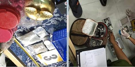 """Một số tang vật trong đường dây sản xuất thuốc lắc của """"Chị Ba Sài Gòn"""" vừa bị triệt phá."""