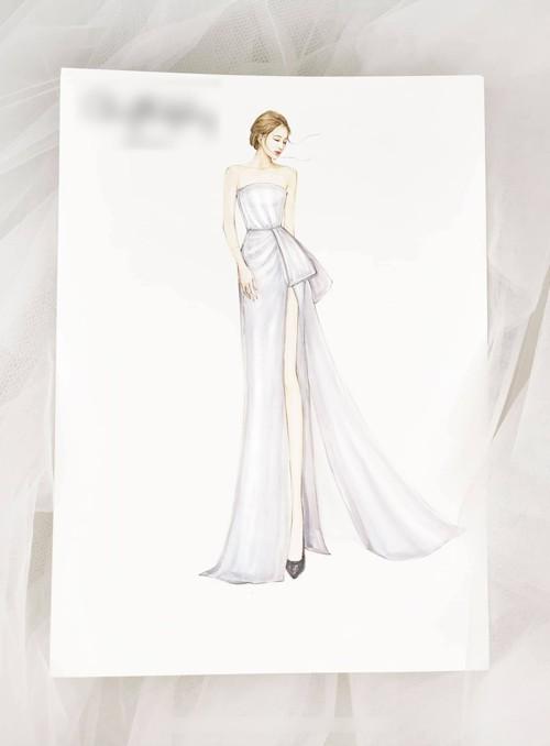 Theo bản phác thảo, mẫu váy có thiết kế quây cúp ngực, phù hợp với người có bờ vai mảnh mai.