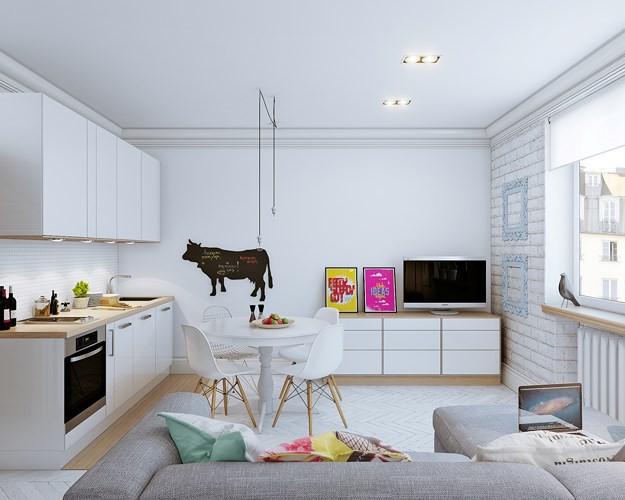"""Chọn giải pháp thiết kế """" 3 trong 1"""" gồm phòng khách, phòng ăn và nhà bếp đặt cùng nhau mang lại nơi sinh hoạt chung ấm áp vui vẻ cho cả gia đình, tại đây khi người mẹ nấu cơm vẫn có thể trông chừng được các con lúc chơi đùa."""