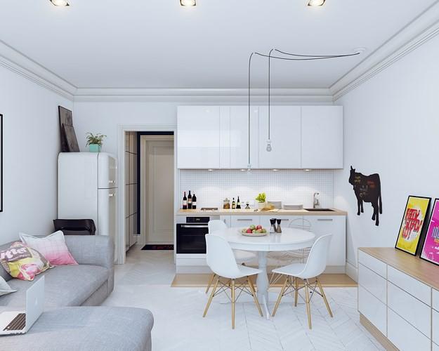 Chọn nội thất và sơn tường màu trắng nhằm tăng chiều rộng và chiều sâu cho không gian.