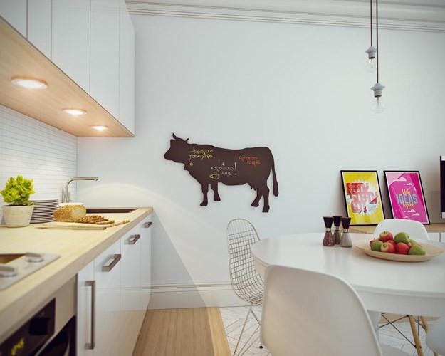 Mặt tủ bếp bằng gỗ toát lên vẻ mộc mạc, bình dị lạ thường.
