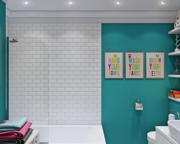 Tường nhà tắm chọn lối trang trí tương phản.