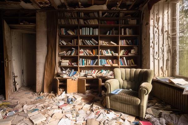 Kệ sách cũ tại một căn phòng ở Đức.