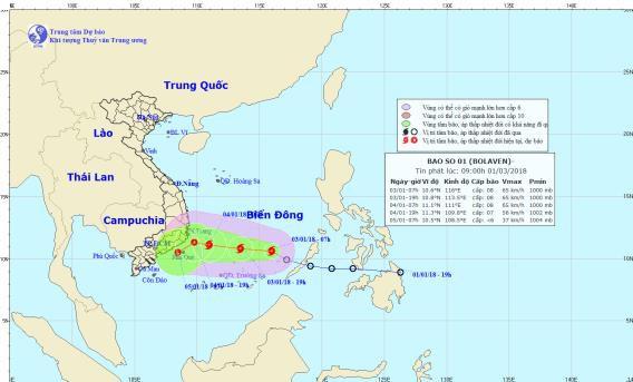 Vị trí và đường đi của bão số 1. Ảnh: NCHMF