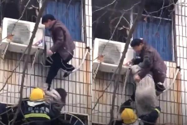 Người đàn ông tay không cứu được phụ nữ mang thai ra khỏi đám cháy.